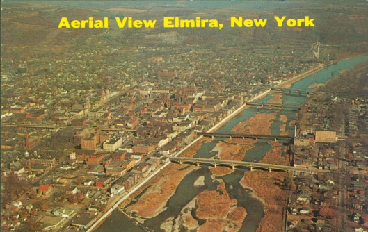 aerial view of elmira ny circa mid 20th century